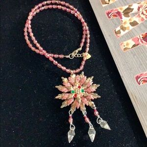 ✨Adorned Crown pink crystal snowflake necklace